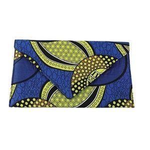 Handbags - African Print Envelope Clutch - Sapphire Sun